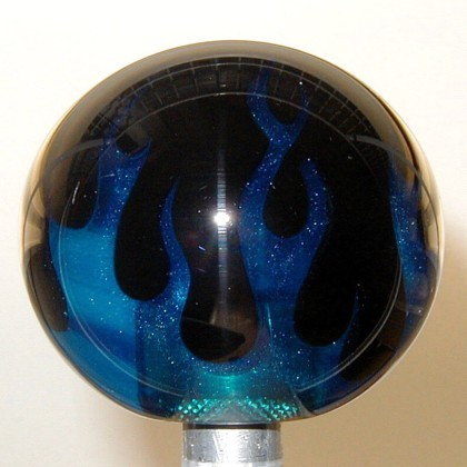 Flameball Shift Knob Two Color Flame Blue Flame On Black