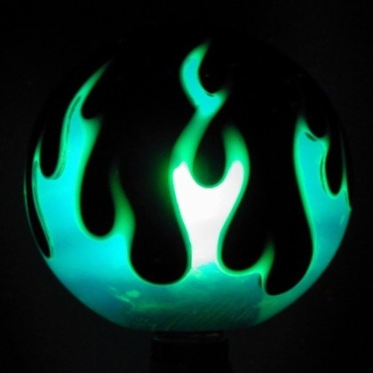Flameball Shift Knob Three Color Flame Green Flame On