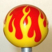 Shift Knob | Two-Color Flame | Opaque Yellow Flame on Red #FL2-42o