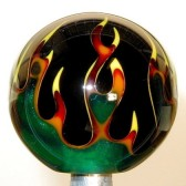 Shift Knob | Multi-Color Flame | Green Flame on Black #FL5-60